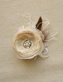 wedding photo - Wedding Hair Flower Bridal Flower Hair Clip Wedding Hairpiece Bridal Headpiece Rustic Bridal Flower Fascinator Champagne Brown Bronze Lace