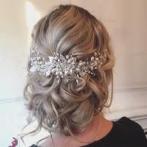 wedding photo - Roseanna Wedding Hairvine - FREE SHIPPING! Bridal Hair Accessories, Tiara, Circlet, Silver, Pearl and Crystal, boho, vintage, fairytale, cro