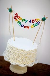 wedding photo - Birthday Cake Banner - Birthday Cake Topper - Happy Birthday Cake Banner - Rainbow Cake Garland - Custom Cake Banner - Personalized Cake