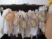 wedding photo - Tattered Fabric Lace Garland Cards Banner Shabby Chic Vintage Barn Wedding Romantic Prairie