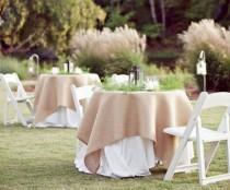 wedding photo - Burlap Table Cover, Burlap Table Overlay, Natural Burlap Tablecloth, Rustic Burlap Table Cover, Outdoor Wedding Decor, Rustic Event Decor