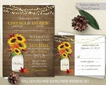 wedding photo - Rustic Fall Wedding Invitations Suite Fall Leaves Sunflowers Country Wedding Barn Wood and Mason Jar Wedding Invite, DIY Printable Digital