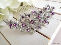 wedding photo - Purple Swarovski Crystal and Pearl Wedding Comb,Wedding Hair Accessories,Vintage Style Flower and Leaf Rhinestone Bridal Hair Comb,MARCY