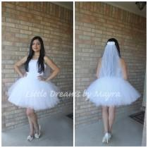 wedding photo - Bride bachelorette tutu skirt and veil, bridal tutu set, fun bachelorette party decorations, Bachelorette party outfit