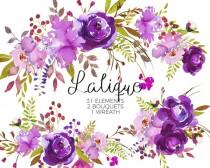 wedding photo - Purple Watercolor Flowers Clipart Set Wedding Floral Bouquets Purple Green Red Peony Roses Clip Art Digital Floral Elements DIY Invitation