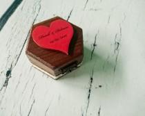 wedding photo - Red heart engagement wedding ring box, proposal box, cute sweet romantic rustic wooden personalised writing custom ring box cotton lace