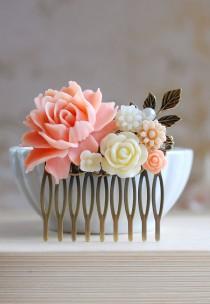 wedding photo - Pink Ivory Wedding Bridal Hair Comb. Vintage Style Pink Rose Ivory Flower Collage Hair Comb. Wedding Hairpiece, Bridal Headpiece
