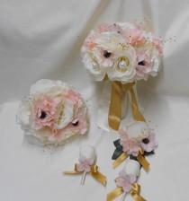 wedding photo - Wedding Silk Flower Bridal Bouquet 18 pieces Package Ivory Pink Blush Rose Gold Bride Bridesmaids Boutonnieres Corsages FREE SHIPPING