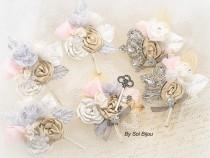 wedding photo - Boutonnieres, Champagne, Silver, Tan, Beige, Ivory, Pink, Gray, Corsages, Groomsmen, Skeleton Key, Mother of the Bride, Elegant Wedding