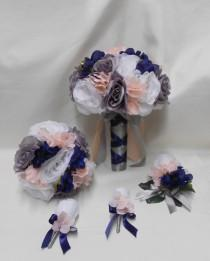 wedding photo - Wedding Silk Flower Bridal Bouquets 18 pcs Package White Grey Navy Blue Pink/Blush Toss Bridesmaids  Boutonnieres Corsages FREE SHIPPING