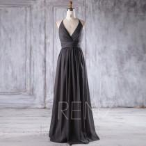 wedding photo - 2016 Charcoal Gray Chiffon Bridesmaid Dress, Deep V Neck Wedding Dress, High Neck Prom Dress Long, Backless Evening Gown Floor Length (L250)