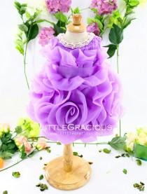 wedding photo - Handmade Infant Pageant Dresses Lavender, Baby Birthday Dress, Flower Girl Dress Tutu, PD070-1