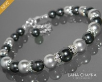 wedding photo - Black Light Gray Pearl Bracelet Swarovski Black Gray Pearl Silver Bracelet One Row Pearl Bracelet Wedding Bracelet Black Grey Pearl Jewelry