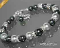 wedding photo - Black Light Gray Pearl Bracelet Swarovski Black Gray Pearl Silver Bracelet One Row Pearl Bracelet Wedding Bracelet Black Grey Pearl Jewelry