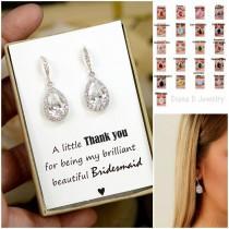 wedding photo - Wedding Jewelry Bridesmaid Gift Bridesmaid Jewelry Bridal Jewelry tear Drop Earrings Cubic Zirconia dangle Earrings,bridesmaid gifts