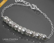 wedding photo - Light Grey Pearl Bracelet Swarovski Pearl Sterling Silver Bracelet Wedding Light Gray Silver Bracelet Bridesmaids Bridal Pearl Bracelet