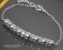 wedding photo - Light Grey Pearl Bracelet Swarovski Pearl Sterling Silver Bracelet Wedding Light Gray Silver Bracelet Bridesmaids Bridal Pearl Bracelet