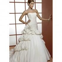 wedding photo - Retro A line Strapless Taffeta Asymmetric Waist Floor Length Wedding Dress - Compelling Wedding Dresses