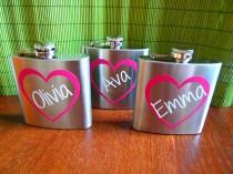 wedding photo - Personalized Bridesmaid and Maid of Honor Heart Name Flasks - Bridal Party Gifts - 6 oz. Stainless Steel