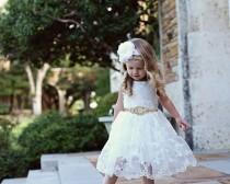 wedding photo - Flower Girl Dress, Rustic Lace Flower Girl Dress, Off White Lace Dress, baby lace dress, Flower Girl Dresses, Toddler Dresses, Country Dress