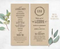 wedding photo - Printable Wedding Programs, DIY Wedding Programs, Simple Wedding Program, Wedding Program Template, Editable text, Classic Wreath VW06