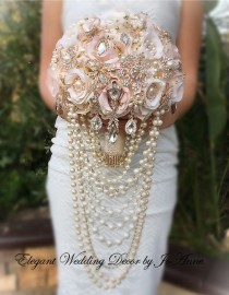 wedding photo - Gold Brooch Bouquet Rose Gold Brooch Bouquet, Custom Pink and Gold Cascading Pearl Bouquet ,Vintage Rose gold and Pearl Bouquet-DEPOSIT