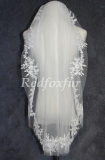 wedding photo - Lace applique Bridal veil,sequin veil,1 Tier Fingertip length wedding veil,With comb
