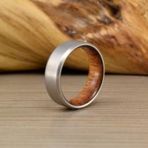 "wedding photo - Titanium & Jatoba""Brazilian Cherry"" ring // Unique Wedding Ring // Men's Wedding Band // Women's Ring // Men's Ring"