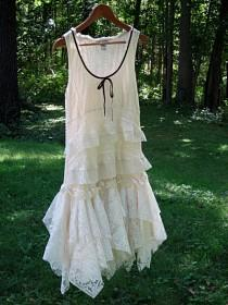 wedding photo - SM Cream Off White Ivory drop waist Flapper tattered wedding dress, boho bohemian hippie gypsy bride, US size 6-8, small, Lily Whitepad
