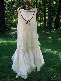 wedding photo - SM Cream Off White Ivory drop waist Flapper tattered wedding dress, boho bohemian hippie gypsy bride, US size 6-8, small, Lily Whitepad