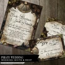 wedding photo - Nautical Wedding Invitation Pirate Wedding Invitation Offbeat Wedding Invitation DIY Printable Nautical Pirate Wedding Invitation Suite