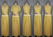 wedding photo - Maxi Full Length Bridesmaid Convertible Wrap Dresses Multiway Long Pastel Yellow Infinity Dress