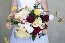 wedding photo - Peach Yellow Burgandy White Wedding Bouquet Wedding Flowers Garden Bouquet
