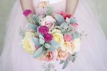 wedding photo - Pink Peach Yellow  Wedding Bouquet Wedding Flowers Garden Bouquet Spring Bouquet Summer Wedding Flowers