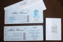 wedding photo - Nautical Wedding boarding pass Invitation, Tropical boarding pass invitation. Blue Cruise wedding invitation, wedding ticket invitation
