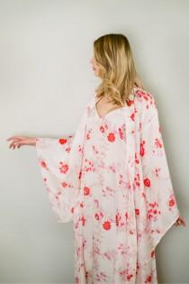 wedding photo - Fleur d'amour. Pure silk Noguchi kimono robe and long camisole. Floral silk long womans robe. Wedding lingerie Bridal kimono dressing gown