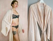 "wedding photo - Fountainbleu. Full length lined ""Noguchi"" lace robe Long nude blush bridal lingerie robe lined with the softest faux silk crepe de chine"
