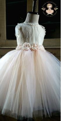 wedding photo - flower girl dress, flower girl dresses, ivory flower girl dress, cream flower girl dress, lace girls dress, rustic wedding, tulle dress