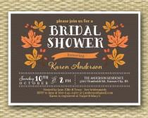 wedding photo - Fall Bridal Shower Invitation Rustic Fall Autumn Shower Leaves Wreath, ANY EVENT, Any Colors