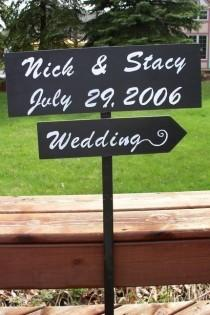 wedding photo - Wedding sign, directional sign, wedding photo prop, wedding arrow, beach wedding, outdoor wedding, personalized sign, wedding decor