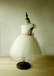wedding photo - Tutu Ivory Flower Girl Dress first birthday communion dresses