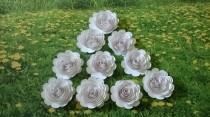 "wedding photo - Big White wedding paper flowers, set of 10 Large roses, 3"" loose garden flower table decoration, Bridal shower decor, Wedding centerpiece"
