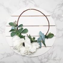 wedding photo - SEASONAL White Anemone + Eucalyptus Flower Crown / Wedding Flower Crown / Bohemian Bride / High Quality Silk Flowers / Garden Flower Crown