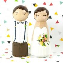 wedding photo - Wedding Cake Topper - Peg Cake Topper - Peg Dolls - Wood Cake Toppers - Wedding Decor - Custom Cake Topper - Peg People - Peg Doll Bride