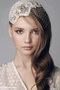 wedding photo - Lace beaded bridal cap, head piece with hand made intricate birdcage veil