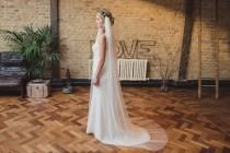 wedding photo - Draped veil, soft silky tulle, drape veil, draping veil, English Net, boho veil, elbow, waist, fingertip, waltz, chapel, cathedral