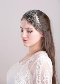 wedding photo - Petite birdcage veil with Swarovski pearls and crystals beads, bridal veil with pearls, beaded wedding veil