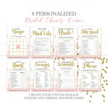 wedding photo -  Pink and Gold Bridal Shower Games Package-Bundle 8 DIY Printable Bridal Shower Games-Golden Glitter Floral Personalized Bridal Shower Games