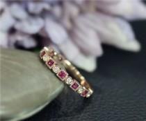 wedding photo - Natural Diamond & Natural Red Ruby Wedding Ring 3/4 Eternity Engagement Solid 14K Rose Gold Ring Anniversary Ring Matching Band BirthdayGift