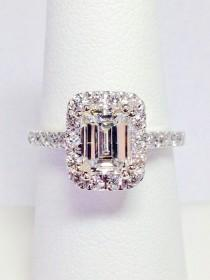 wedding photo - 1.00CT Diamond Emerald Cut Halo Engagement Ring Anniversary Band Wedding Bands Rings Diamonds Platinum, 18K, 14K White, Yellow, Rose Gold